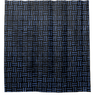 WOVEN1 BLACK MARBLE & BLUE STONE SHOWER CURTAIN