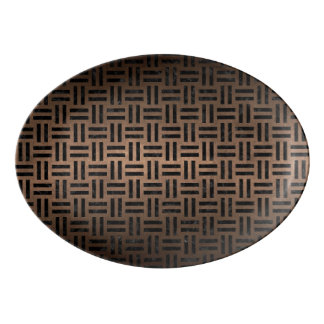 WOVEN1 BLACK MARBLE & BRONZE METAL (R) PORCELAIN SERVING PLATTER