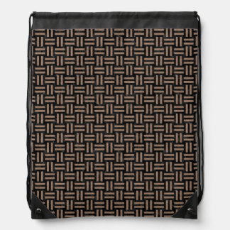 WOVEN1 BLACK MARBLE & BROWN COLORED PENCIL DRAWSTRING BAG