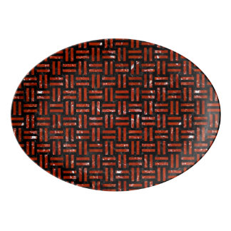 WOVEN1 BLACK MARBLE & RED MARBLE PORCELAIN SERVING PLATTER