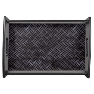WOVEN2 BLACK MARBLE & BLACK WATERCOLOR (R) SERVING TRAY