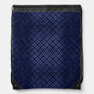 WOVEN2 BLACK MARBLE & BLUE BRUSHED METAL DRAWSTRING BAG
