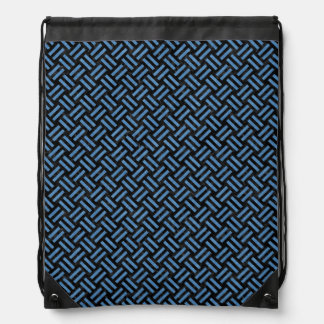 WOVEN2 BLACK MARBLE & BLUE COLORED PENCIL DRAWSTRING BAG