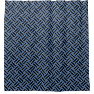 WOVEN2 BLACK MARBLE & BLUE DENIM (R) SHOWER CURTAIN