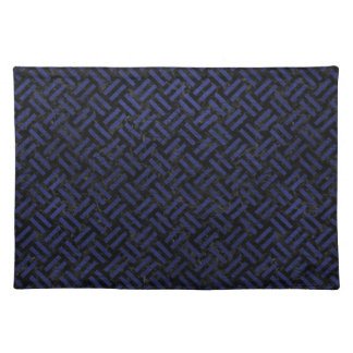 WOVEN2 BLACK MARBLE & BLUE LEATHER PLACEMAT