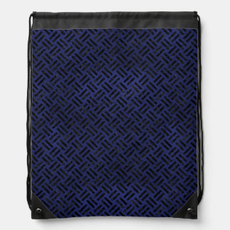 WOVEN2 BLACK MARBLE & BLUE LEATHER (R) DRAWSTRING BAG