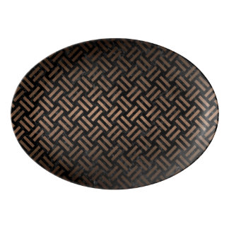WOVEN2 BLACK MARBLE & BRONZE METAL PORCELAIN SERVING PLATTER