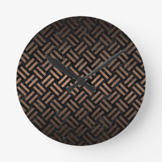 WOVEN2 BLACK MARBLE & BRONZE METAL ROUND CLOCK