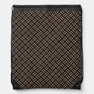 WOVEN2 BLACK MARBLE & BROWN COLORED PENCIL DRAWSTRING BAG