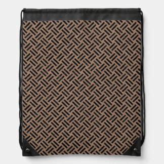 WOVEN2 BLACK MARBLE & BROWN COLORED PENCIL (R) DRAWSTRING BAG