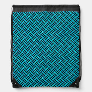 WOVEN2 BLACK MARBLE & TURQUOISE MARBLE (R) DRAWSTRING BAG