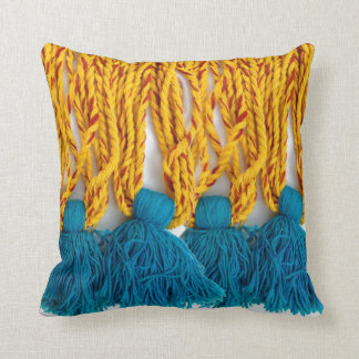 Woven Braided Tribal Tassles Cushion