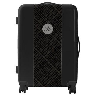 Woven Burlap Graphical Black Monogram Luggage