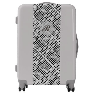 Woven Burlap Graphical Gray Monogram Luggage