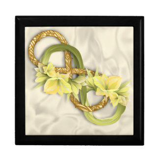 Woven Double Infinity in Gold & Cowlilies-White 3 Large Square Gift Box