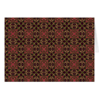 Woven effect Brown and Red X Repeating Pattern Greeting Card