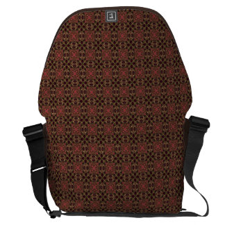 Woven effect Brown and Red X Repeating Pattern Courier Bag