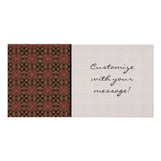 Woven effect Brown and Red X Repeating Pattern Customized Photo Card