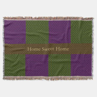 Woven Home Sweet Home in Green and Purple Throw Blanket