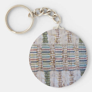 Woven material basic round button key ring