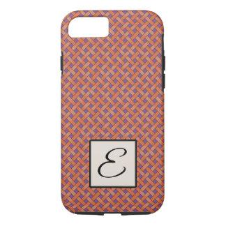 Woven Orange Rattan on Custom Purple with Monogram iPhone 8/7 Case
