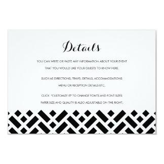 Woven Pattern Black Wedding Insert Details Card 9 Cm X 13 Cm Invitation Card