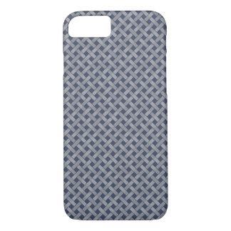 Woven Rattan Pattern Silver on Custom Dark Blue iPhone 8/7 Case