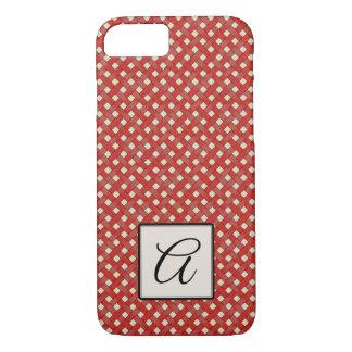 Woven Red Rattan on Custom Cream with Monogram iPhone 8/7 Case