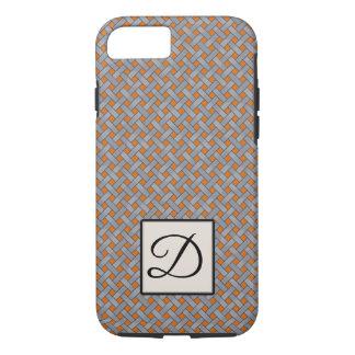 Woven Silver Rattan on Custom Orange with Monogram iPhone 8/7 Case