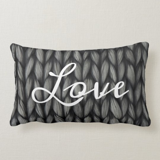 Woven texured look love pillow
