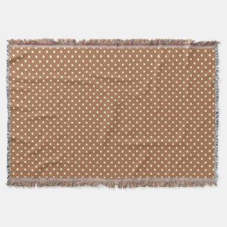 Woven Throw Blanket Dots Dark Brown Cream