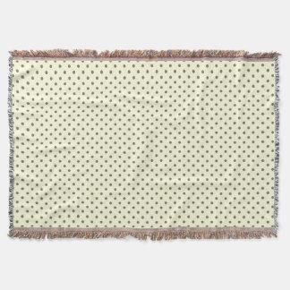 Woven Throw Blanket Dots Dark Green Cream