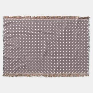 Woven Throw Blanket Dots Dark Purple Cream