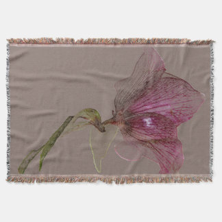 Woven Throw Blanket Flower Design Hellebore