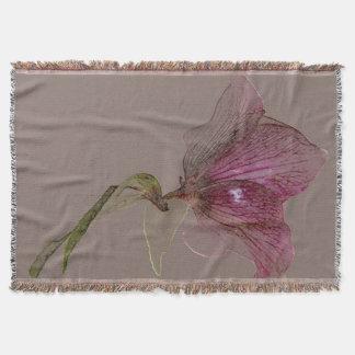 Woven Throw Blanket Flower Design Hellebore