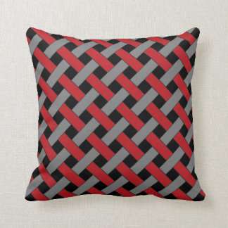 Woven/Wicker-look Pattern: Red, Gray and Black Cushion