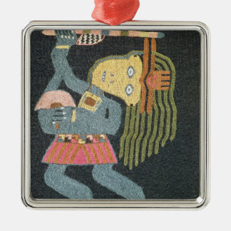 Woven wool dancer with baton, Paracas tribe Silver-Colored Square Decoration