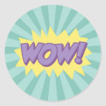 WOW comic book style effect Round Sticker
