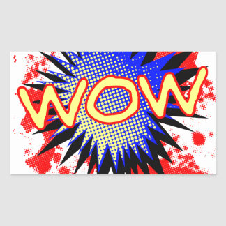 Wow Comic Exclamation Rectangular Sticker