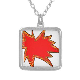 Wow Pop Pow Comic Art Super Heroes Word Bubble Square Pendant Necklace