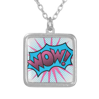 Wow Text Design Silver Plated Necklace