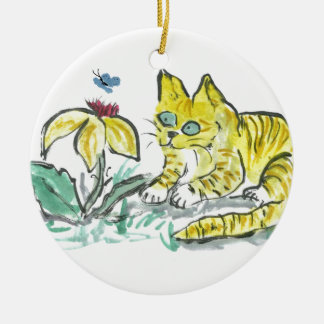 Wow, What is That? Exclaims Yellow Tiger Kitty Round Ceramic Decoration