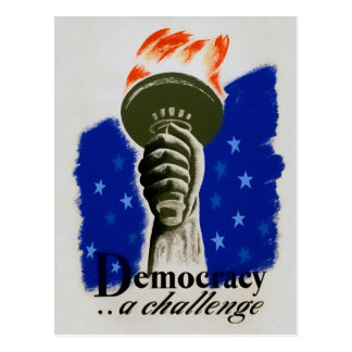 "WPA Poster ""Democracy.... A Challenge"" Postcard"