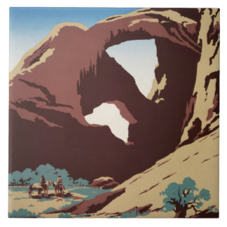 WPA Vintage Travel Poster See America Arches Tile