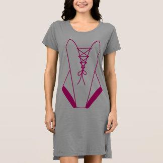 Wrap pink bodystocking dress