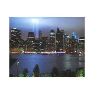 Wrapped Canvas - New York City downtown at night Canvas Print