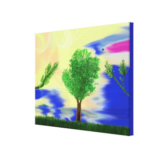 Wrapped Canvas Print tree on grass painting