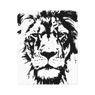 Wrapped Canvas with a black and white print Leo