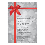 Wrapped Silver Glow Corporate Holiday Party Personalized Announcements