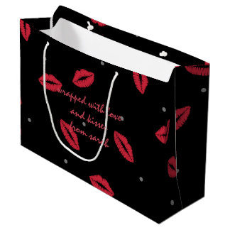 Wrapped with Love and Kisses Black Gift Bag